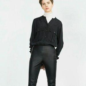 Zara black leather leggings NWT